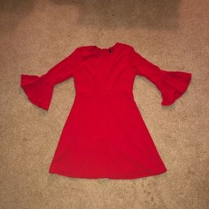 Lulu's Bell Sleeved Red Dress